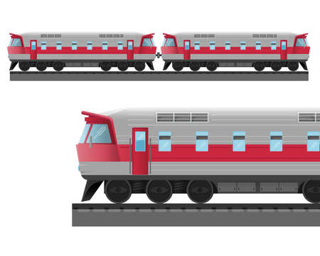 Modern train with solid metal corpus drives on rails