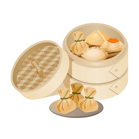 Dim sum style of Chinese cuisine prepared as small portions Illustration