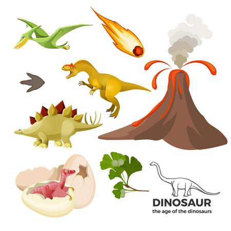 Age of dinosaurs banner with prehistoric predators t-rex, tyrannosaurus, pterodactyl, Ilustração