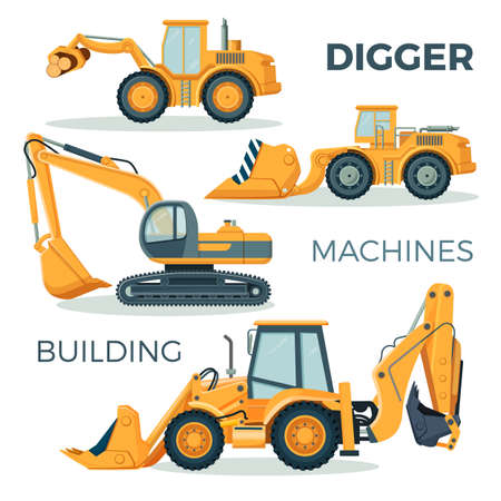 Digger and machines for building isolated cartoon illustration