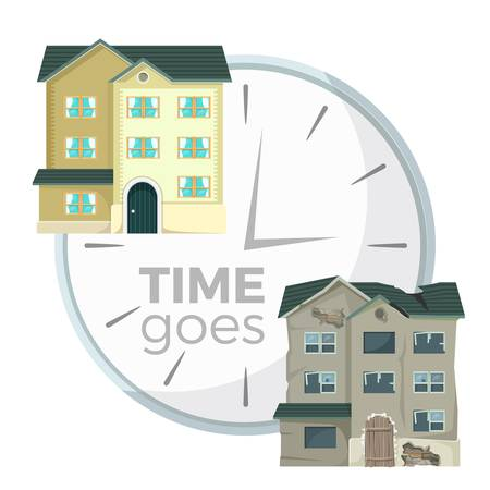 Time goes with process of house demolition symbolic vector illustration with mechanic clocks and new and old buildings isolated on white background.