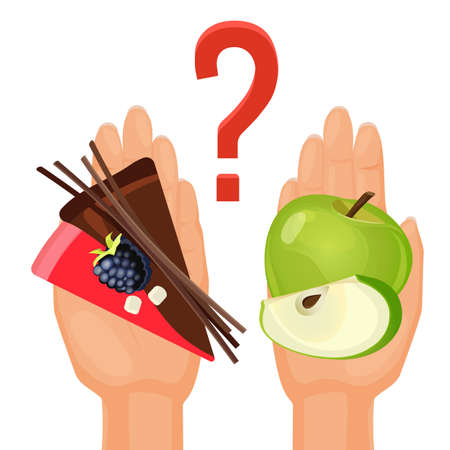 Ripe green apple and delicious cake in human hands with question mark above as symbol of choice isolated vector illustration on white background.