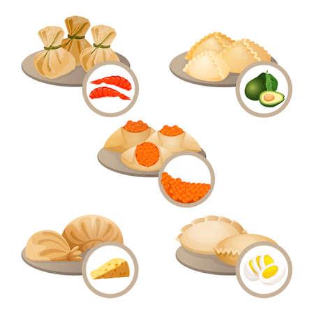 Dim-sum treats in plates set wrapped dough with shrimps,