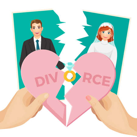 Divorce concept vector illustration of splitted heart and photo