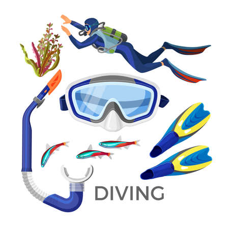 Diving accessories as silicon goggles, rubber tube, blue flippers, Illustration