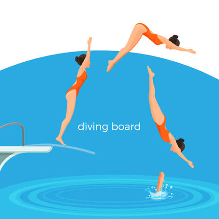 Diving board and female swimmer in swimsuit that jumps Фото со стока - 94050521