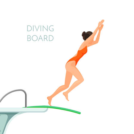 Diving board and girl in red swimsuit jumps from it 版權商用圖片 - 94050524