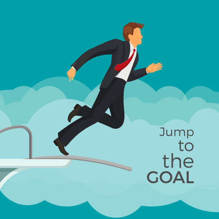 Jump to the goal agitative poster with businessman in suit