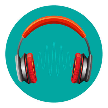 Modern loud headphones in red corpus with thin sound wave between speakers. Isolated cartoon flat vector illustration. Mobile device to listen to audio files.