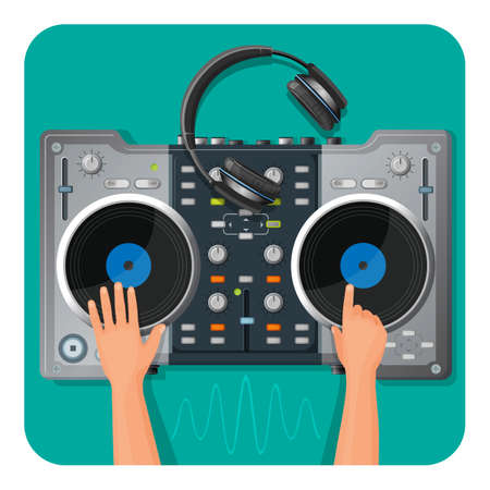 DJ turntable, modern headphones and human hands that play electronic music. Isolated cartoon flat vector illustrations with thin sound wave underneath.