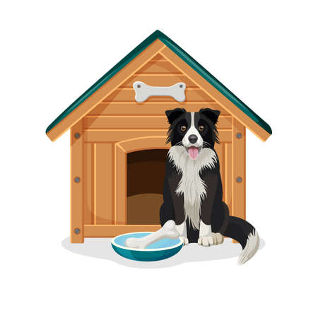 Dog sits beside wooden doghouse and bowl with bone Illustration