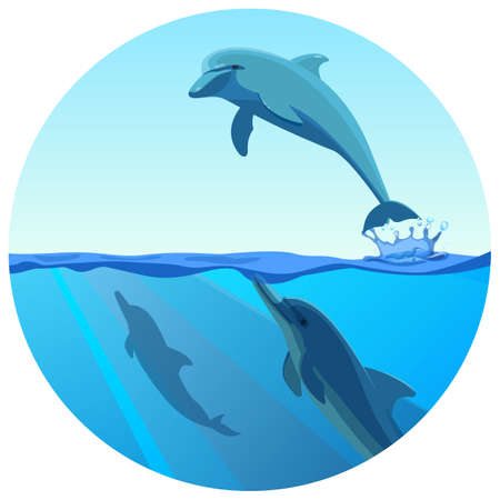 Dolphin jumping out of water in deep blue sea, vector illustration.