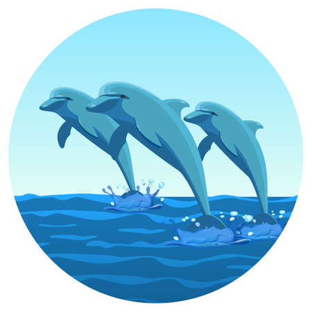 Three dolphins synchronously jump out of water friendly kind creatures Illustration