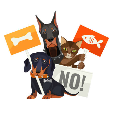 No bullying of animals, protesting cats and dogs with boards illustration.