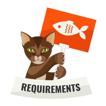 항의 명함으로 음식을 요구하는 고양이의 요구 사항 일러스트
