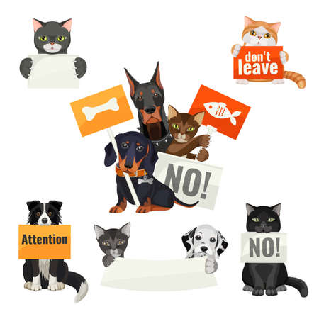 No bullying of animals, protesting cats and dogs with boards Illustration