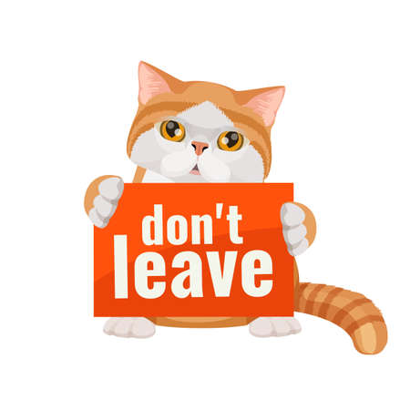 Dont leave me poster with cute kitten red and white background.