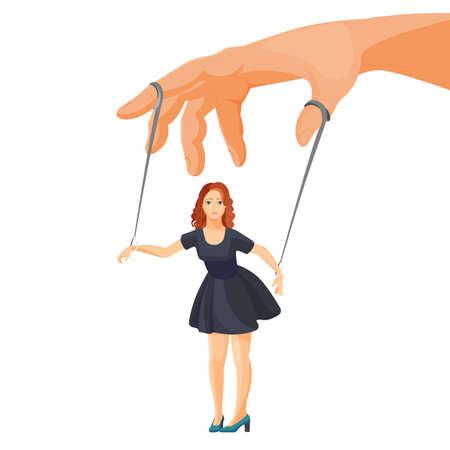 Violence domestique et manipulation au cours de l'illustration vectorielle plane femme métaphorique cartoon isolé. Personnage féminin sur des cordes attachées aux doigts comme une marionnette.