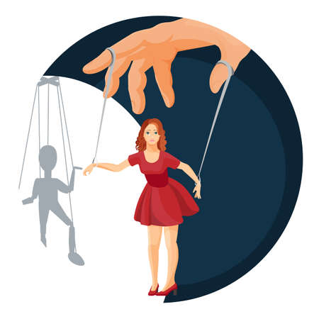 Physical manipulation over women, social problem themed poster. Female character attached with ropes to hand with puppet silhouette on wall vector illustration.