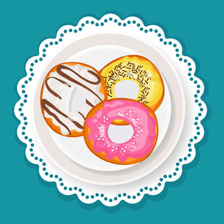 Delicious sweet donuts in glaze on plate with wavy edge Illustration