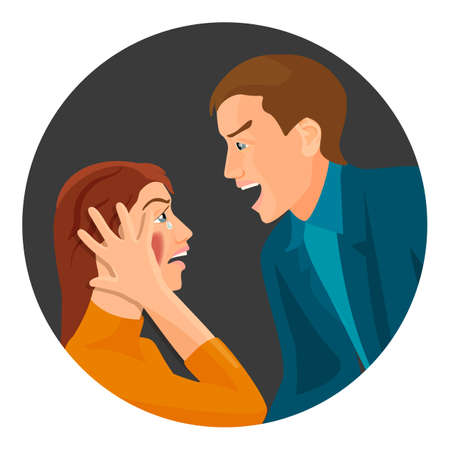 Domestic violence between married couple that has big fight and screams at each other loud isolated cartoon flat vector illustration inside dark circle.
