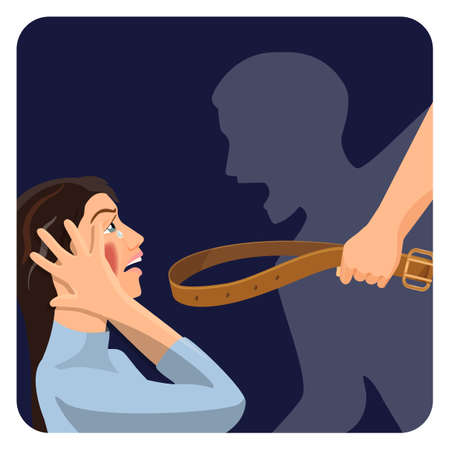 Domestic physical violence over scared woman social poster Illustration