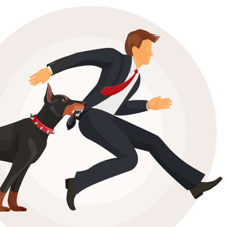 Trained doberman catches man in suit by jacket