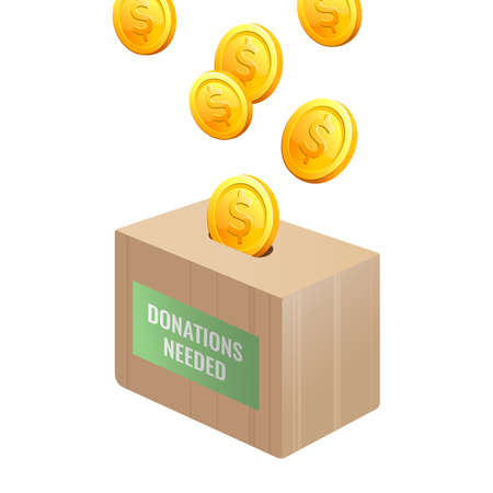 Donations needed sign on wooden box with gold coins Illustration