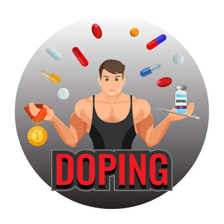 Doping drugs and fit sportsman inside circle emblem Illustration