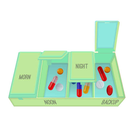 Pills and capsules in special container with dosage