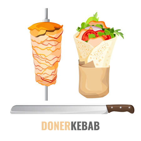 Doner kebab promo poster with meet on skewer and knife Illustration