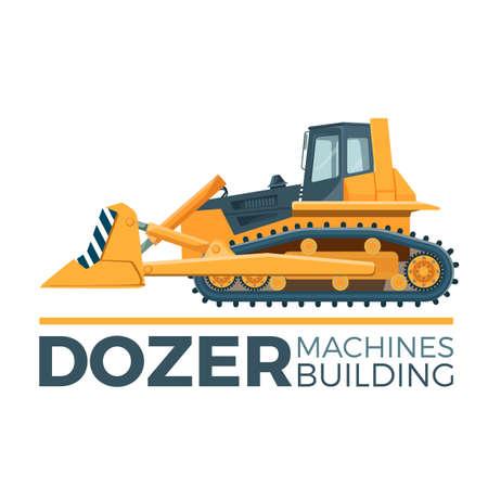 Machines building promo poster with huge yellow dozer. 일러스트