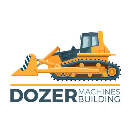 Machines building promo poster with huge yellow dozer. Illustration