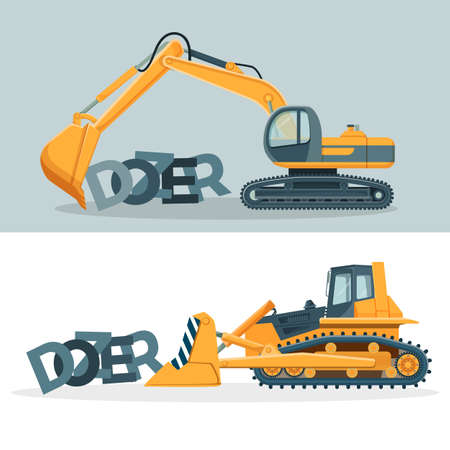 Dozers creative promotional posters with huge powerful machines.