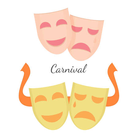 Carnival drama masks symbols of theatre play isolated on white