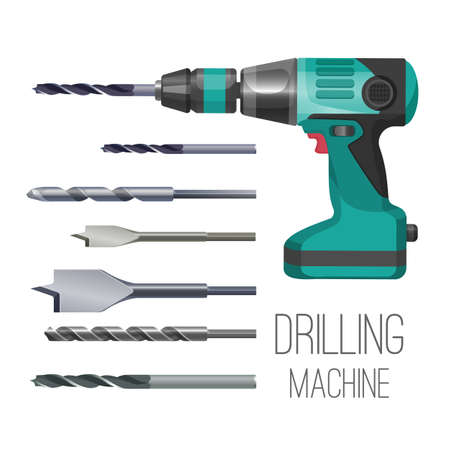 Drilling machine or hand drill fitted with cutting or driving tool Illustration