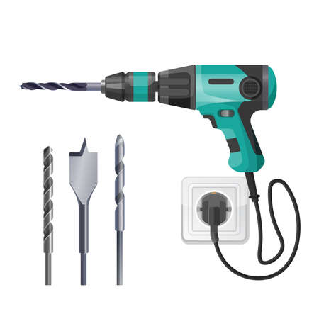 Electric drilling machine cord plugged into socket, fitted with cutting or driving tool, set of drills or driver bit vector illustration isolated on white