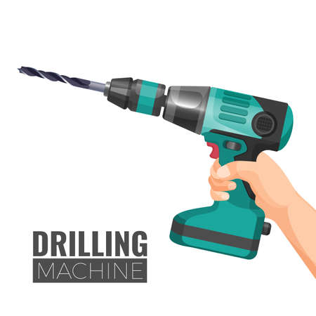 Hand drill or drilling machine fitted with cutting or driving tool attachment, usually drills or driver bit, used for boring holes in various materials or fastening Foto de archivo - 95380266