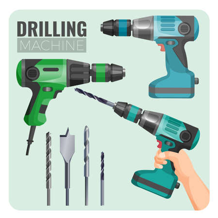 Drilling machine vector illustration of electro work tool and set of set of drills, drill in hand long brad point drill bit for woodworking isolated on white