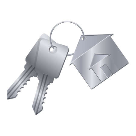 Shiny metal keys with silver trinket from dream house