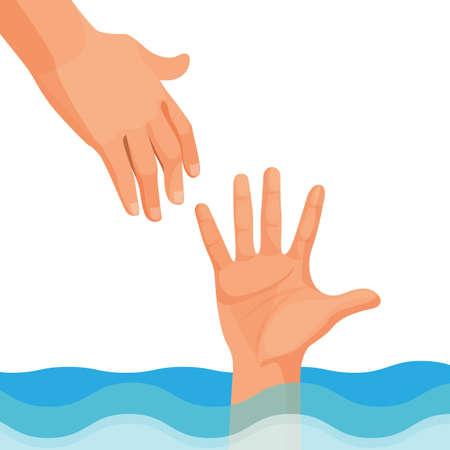 Hand van persoon die verdrinkt stok uit water Vector Illustratie