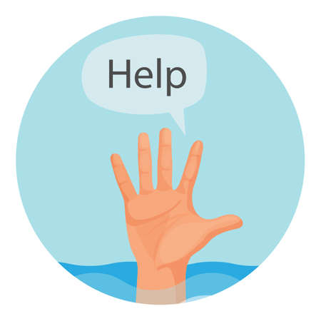 Hand of person who drowns with sign help round emblem. Palm that sticks out of water surface and ask for aid inside circle isolated vector illustration. Illustration