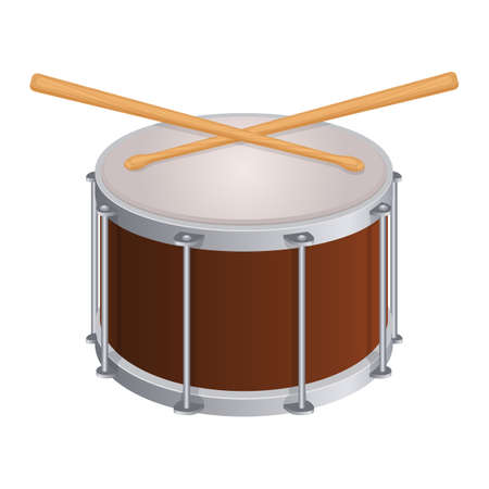 Small round drum and wooden sticks to play. Percussion musical instrument and equipment to perform isolated cartoon vector illustration on white background.