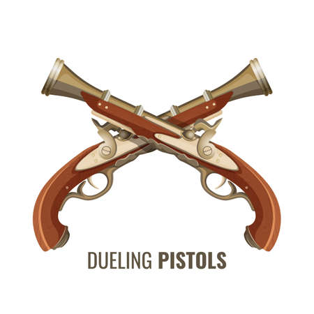 Dueling pistols with luxurious vintage design of wood and metal