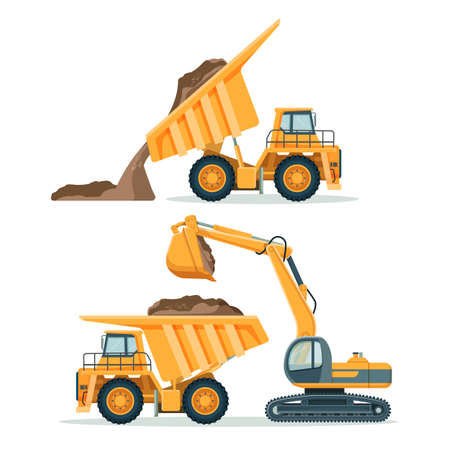 Dump truck with body full of soil and modern excavator 일러스트