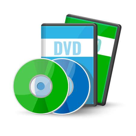 Discos y estuches de video digital DVD para almacenamiento, versátil disco óptico formato redondo ilustración vectorial aislado sobre fondo blanco, medios grabables Ilustración de vector