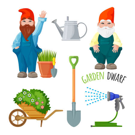 Garden dwarfs with working tools.
