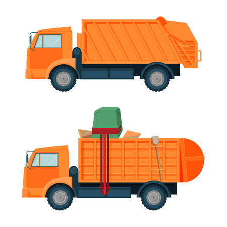Long orange garbage truck with empty and full body set. Vehicle that helps to get rid of rubbish. Industrial machine isolated cartoon vector illustrations. Vettoriali
