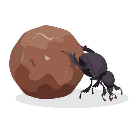 Gros coléoptère qui pousse une grosse balle sale. Petit insecte fort qui recueille la tasse. Créature drôle de faune monde isolé dessin animé plat vector illustration. Vecteurs
