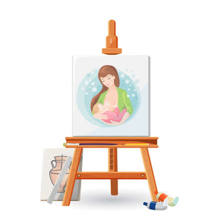 Wooden easel with picture of woman breastfeeding baby, with brush